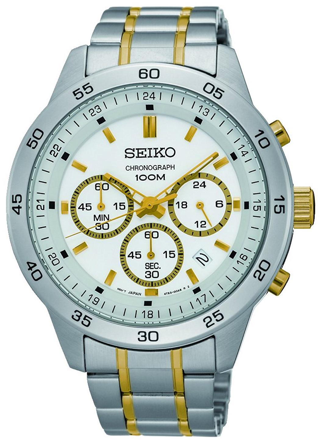 Seiko Chronograph Herrklocka SKS523P1 Vit/Gulguldtonat stål Ø44 mm - Seiko