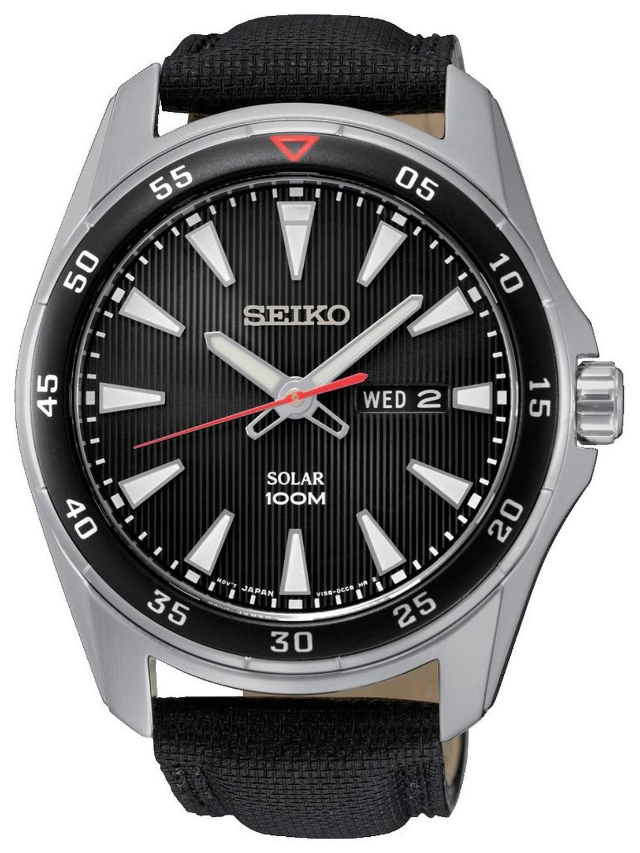 Seiko Solar Herrklocka SNE393P2 Svart/Läder Ø42 mm - Seiko