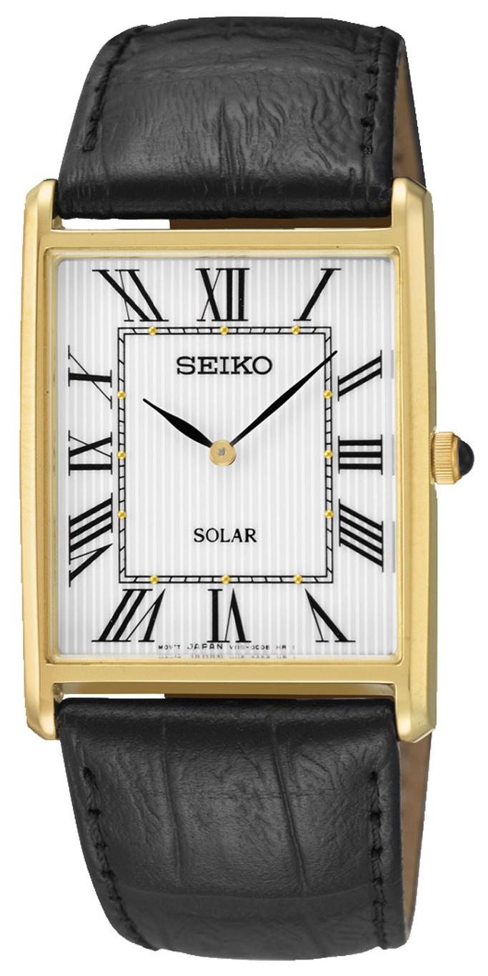 Seiko Solar Herrklocka SUP880P1 Silverfärgad/Läder - Seiko
