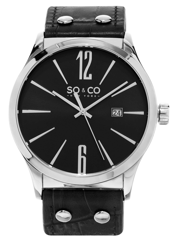 So & Co New York Madison Herrklocka 5098.2 Svart/Läder Ø45 mm - So & Co New York