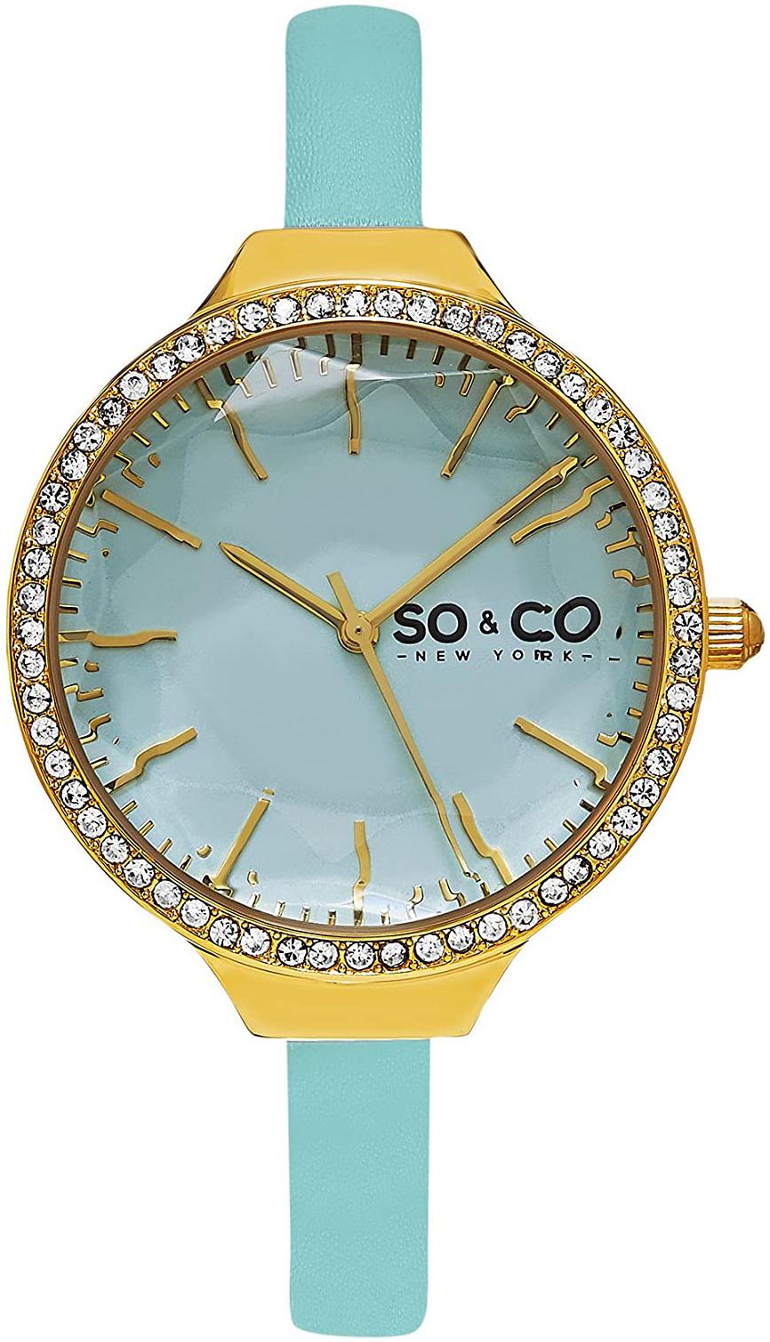 So & Co New York SoHo Damklocka 5261.1 Blå/Läder Ø36 mm - So & Co New York