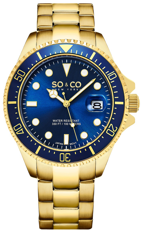 So & Co New York Yacht Timer Herrklocka 5347.7 Blå/Gulguldtonat stål - So & Co New York