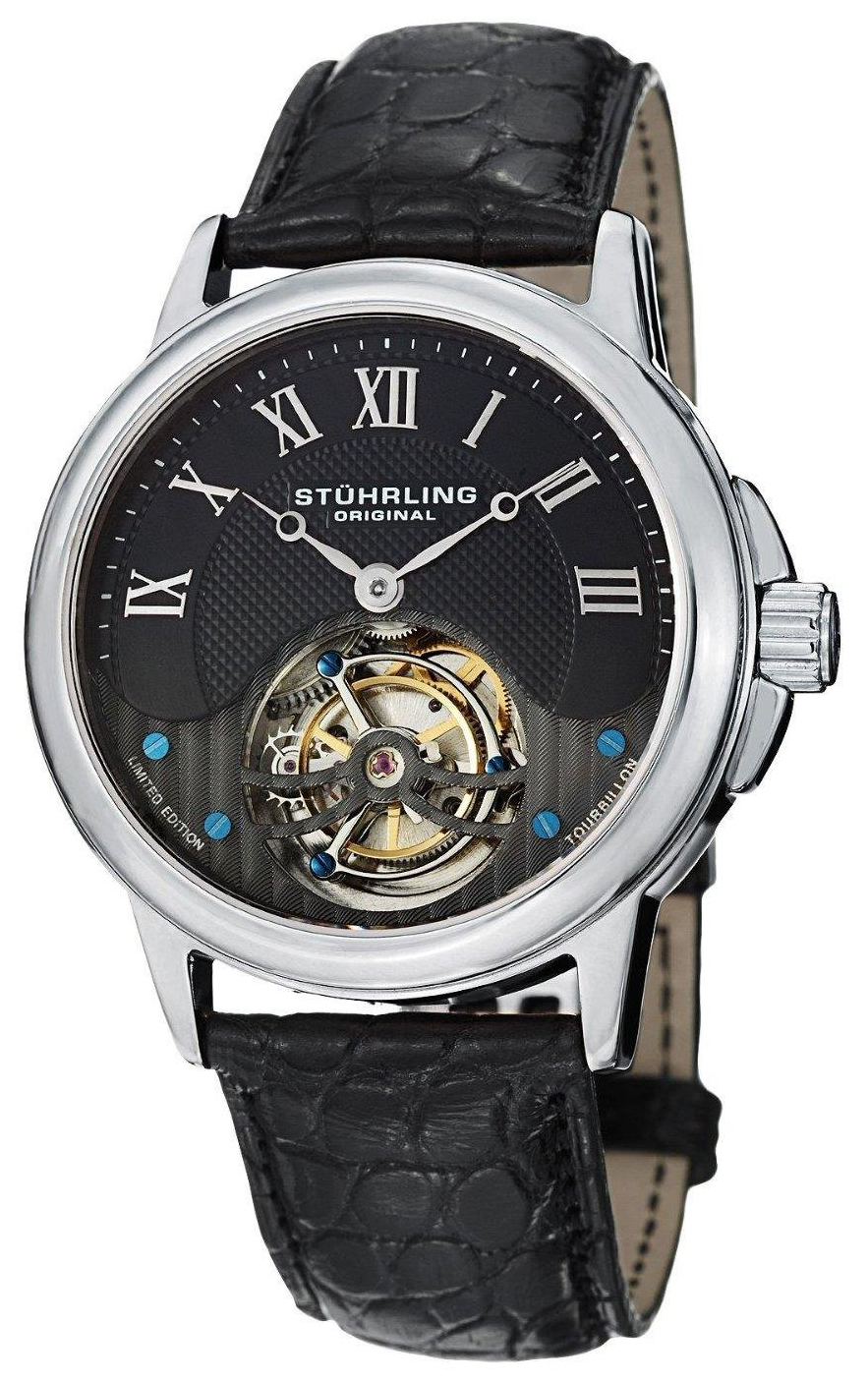 Stührling Original Tourbillon Herrklocka 541.331XK1 Svart/Läder Ø42 mm - Stührling Original