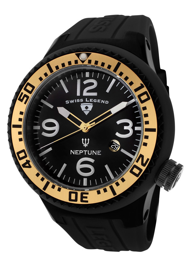 Swiss Legend Neptune Herrklocka SL-21818P-BB-01-GA Svart/Gummi Ø52 mm - Swiss Legend
