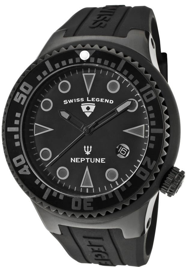 Swiss Legend Neptune Herrklocka SL-21848D-PHT-01 Svart/Gummi Ø48 mm - Swiss Legend