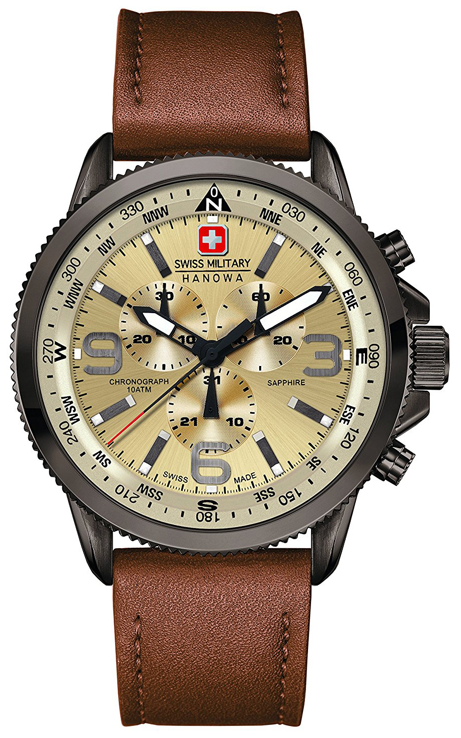Swiss Military Sport Herrklocka 06-4224.30.002 Beige/Läder Ø46 mm - Swiss Military