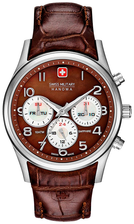 Swiss Military Sport Damklocka 06-6278.04.005 Brun/Läder Ø36 mm - Swiss Military