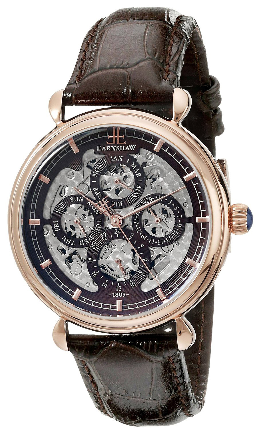Thomas Earnshaw Grand Calendar Herrklocka ES-8043-05 Brun/Läder Ø38 mm - Thomas Earnshaw