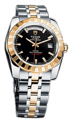 Tudor Classic Date-Day Herrklocka 23013-62113-BIDSTL Svart/Gulguldtonat - Tudor