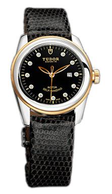 Tudor Glamour Date Damklocka 53003-BDIDBLZS Svart/Läder Ø31 mm - Tudor