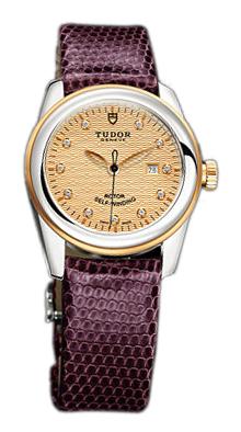 Tudor Glamour Date Damklocka 53003-CHDIDPRLZSP Champagnefärgad/Läder - Tudor