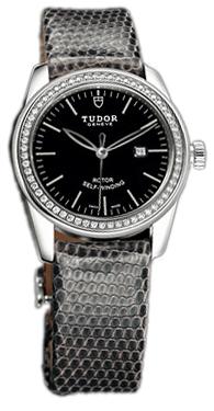 Tudor Glamour Date Damklocka 53020-BIDGLZS Svart/Läder Ø31 mm - Tudor