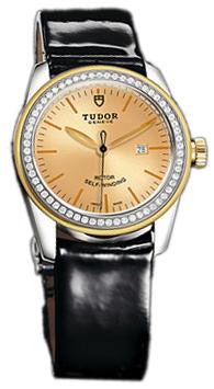 Tudor Glamour Date Damklocka 53023-CHIDBPLS Champagnefärgad/Läder Ø31 mm - Tudor