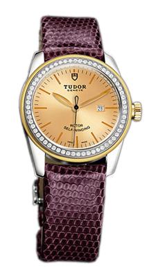 Tudor Glamour Date Damklocka 53023-CHIDPRLZS Champagnefärgad/Läder Ø31 - Tudor