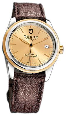 Tudor Glamour Date 55003-CHIDBRJLS Champagnefärgad/Läder Ø36 mm - Tudor