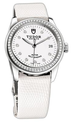 Tudor Glamour Date 55020-WDIDWLZS Vit/Läder Ø36 mm - Tudor