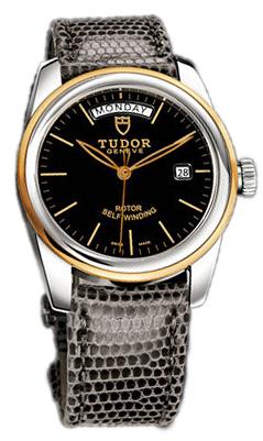 Tudor Glamour Day-Date Herrklocka 56003-BIDGLZS Svart/Läder Ø39 mm - Tudor