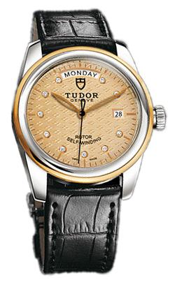 Tudor Glamour Day-Date Herrklocka 56003-CHDIDSBLSP Champagnefärgad/Läder - Tudor