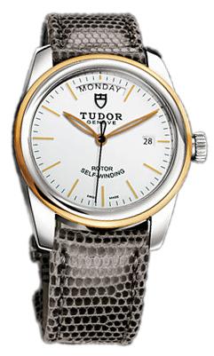 Tudor Glamour Day-Date Herrklocka 56003-WIDGLZS Vit/Läder Ø39 mm - Tudor