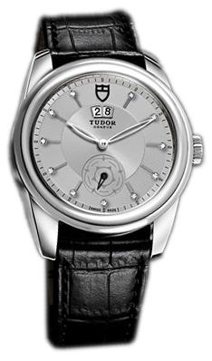Tudor Glamour Double Date Herrklocka 57000-SDIDSBLS Silverfärgad/Läder - Tudor