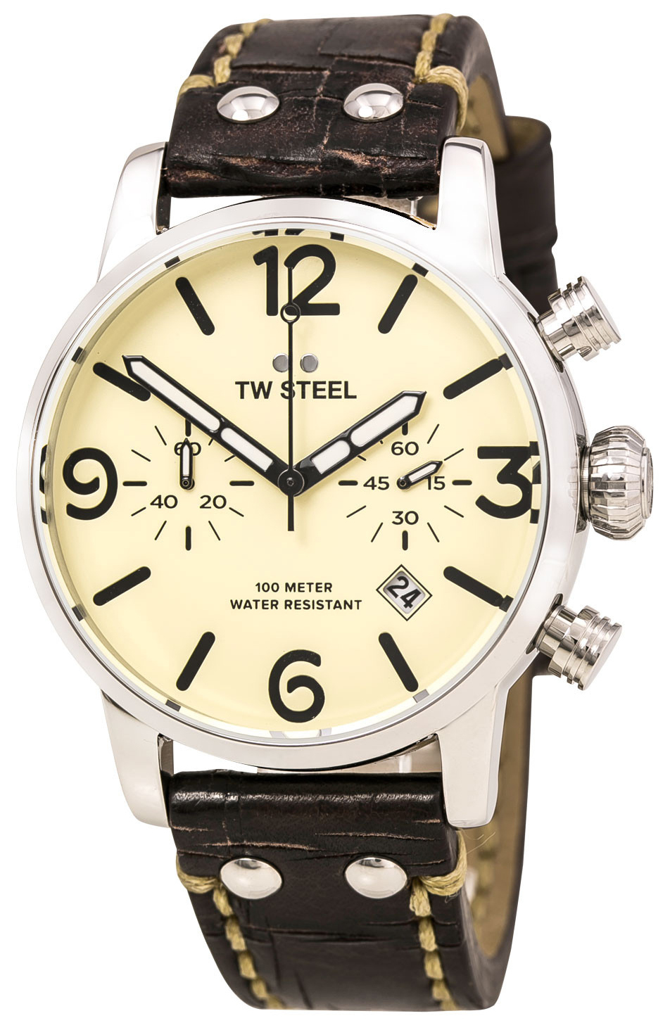 TW Steel Maverick Herrklocka MS23 Beige/Läder Ø45 mm - TW Steel