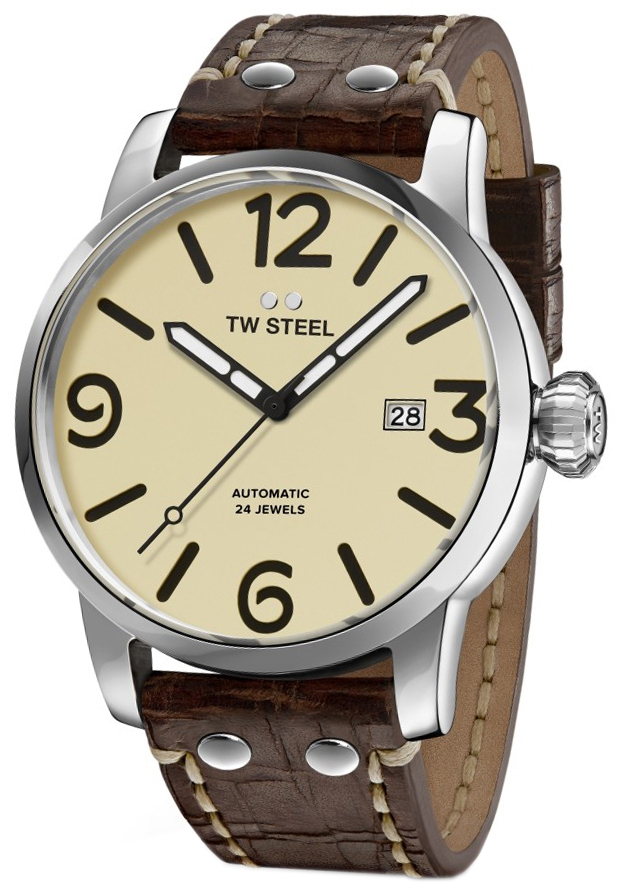 TW Steel Maverick Herrklocka MS25 Beige/Läder Ø45 mm - TW Steel
