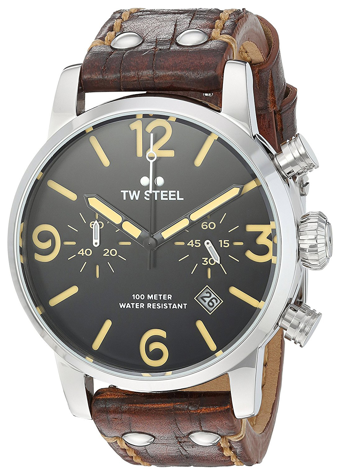 TW Steel Maverick MS3 Svart/Läder Ø45 mm - TW Steel