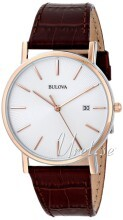 Bulova Dress Vit/Läder Ø37 mm