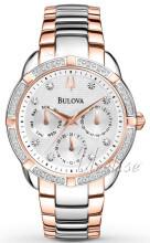 Bulova Diamond Vit/Roséguldstonat stål