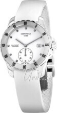 Certina DS First Lady Ceramic Small Second Vit/Gummi Ø34.8 mm
