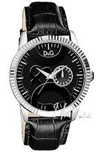 Dolce & Gabbana D&G Twin Black Dial Black Leather