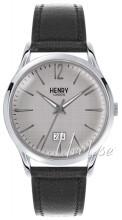 Henry London Piccadilly Silverfärgad/Läder Ø41 mm