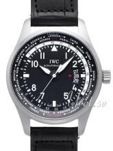 IWC Pilots Worldtimer Svart/Läder Ø45 mm