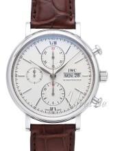 IWC Portofino Chronograph Silverfärgad/Läder Ø42 mm