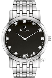 Bulova Diamond Svart/Stål Ø38 mm 96D106