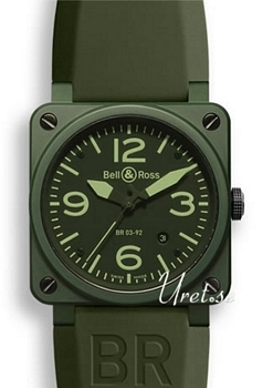Bell & Ross Aviation Grön/Gummi 42x42 mm