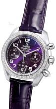 Omega Speedmaster Automatic Chronometer Lila/Läder