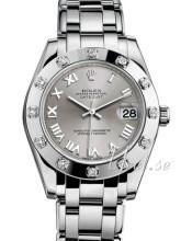 Rolex Pearlmaster 34 Silverfärgad/18 karat vitt guld