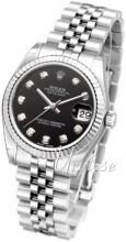 Rolex Datejust Black Dial Midsize Jubilee Bracelet Diamond