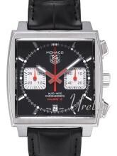 TAG Heuer Monaco Calibre 12 Automatic Chronograph Svart/Läder 39
